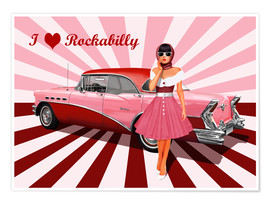 Poster  I love Rockabilly - Monika Jüngling