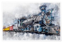 Premium-Poster Dampflokomotive Durango and Silverton Narrow Gauge Railroad - Colorado - USA