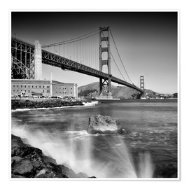 Premium-Poster Golden Gate Bridge mit Brandung
