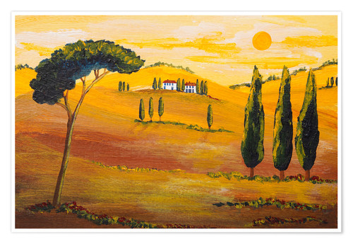 Premium-Poster Sonnenschein am Morgen in der Toskana / Sunshine  in Tuscany in the Morning