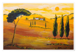 Premium-Poster  Sonnenschein am Morgen in der Toskana / Sunshine  in Tuscany in the Morning - Christine Huwer