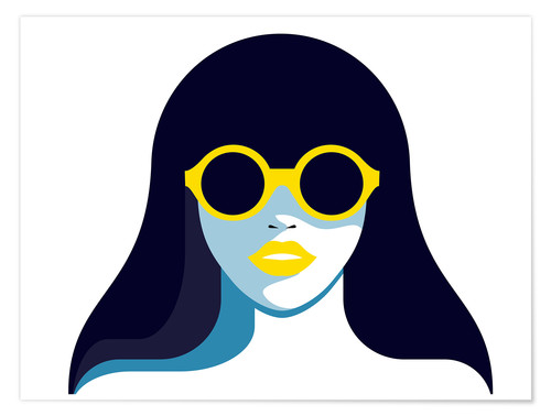 Premium-Poster Glam girl with rounded sunglasses