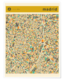 Poster  Madrid Karte - Jazzberry Blue