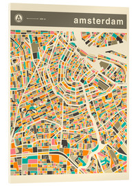 Acrylglas  AMSTERDAM MAP - Jazzberry Blue