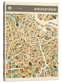 Leinwandbild  AMSTERDAM MAP - Jazzberry Blue