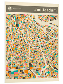 Hartschaumbild  AMSTERDAM MAP - Jazzberry Blue