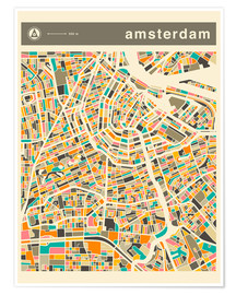Premium-Poster  AMSTERDAM MAP - Jazzberry Blue