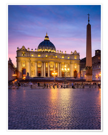Premium-Poster  Petersdom und Petersplatz in Rom, Italien - Jan Christopher Becke