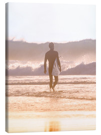 Leinwandbild  Einsamer Surfer am Strand