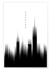 Premium-Poster Graphic Art SKYHIGH Lights white