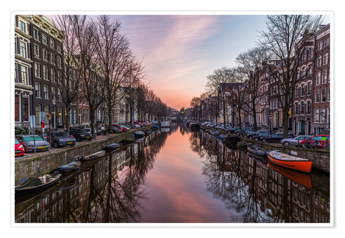 Premium-Poster Amsterdam Canals bei Sonnenaufgang