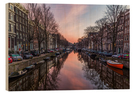 Holzbild  Amsterdam Canals bei Sonnenaufgang - Mike Clegg Photography