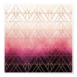 Premium-Poster  Pink Ombre Triangles - Elisabeth Fredriksson