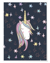 Poster  Einhorn bei Nacht - Kidz Collection