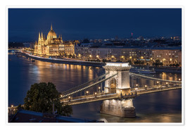 Premium-Poster  Budapest at night - Elena Papadopolis