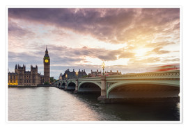 Premium-Poster LONDON Westminster Bridge und Big Ben Sonnenuntergang