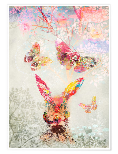 Premium-Poster Butterflies and Hare