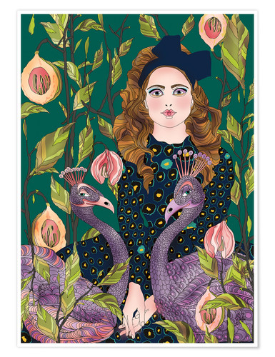 Premium-Poster Portrait with peacocks