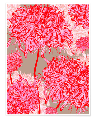 Premium-Poster Pretty in pink chrysanthemum