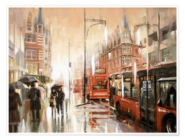 Poster  Oxford Street im Regen - Johnny Morant