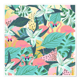 Premium-Poster Flamingo Tropical