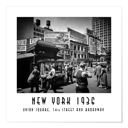 Premium-Poster Historisches New York: Union Square, 14th Street and Broadway