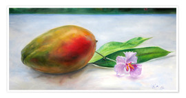 Poster Mango mit Orchidee