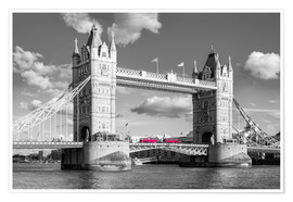 Poster London, Tower Bridge Schwarz Weiss