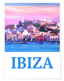 Premium-Poster Retro Ibiza Old Town and Harbour Pearl Of the Mediterranean