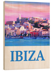 Holzbild  Retro Ibiza Old Town and Harbour Pearl Of the Mediterranean - M. Bleichner