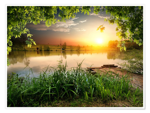 Premium-Poster Ruhiger Angelsee am Abend