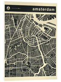 Acrylglas  AMSTERDAM CITY MAP - Jazzberry Blue