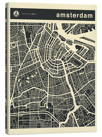 Leinwandbild  AMSTERDAM CITY MAP - Jazzberry Blue