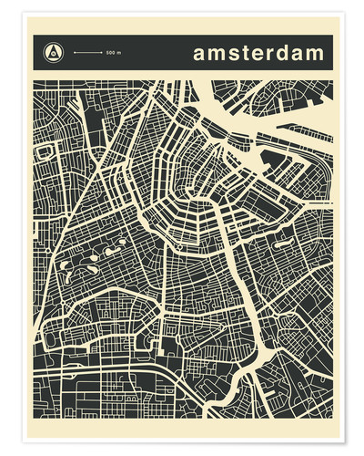 Premium-Poster AMSTERDAM CITY MAP