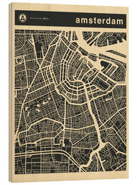 Holzbild  AMSTERDAM CITY MAP - Jazzberry Blue