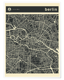 Poster  BERLIN CITY MAP - Jazzberry Blue