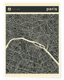 Poster  Paris Stadtplan - Jazzberry Blue