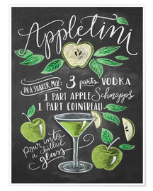 Premium-Poster  Appletini Rezept (Englisch) - Lily & Val