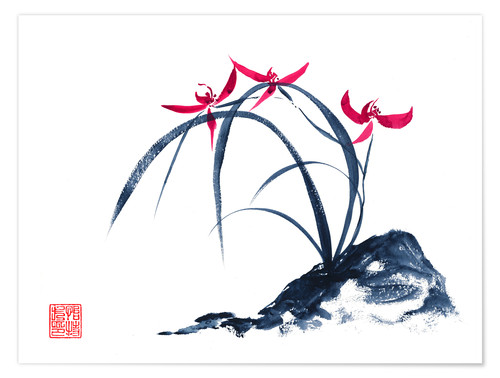 Premium-Poster rote Orchidee