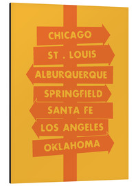 Alubild  City signs locations route 66 art - Nory Glory Prints