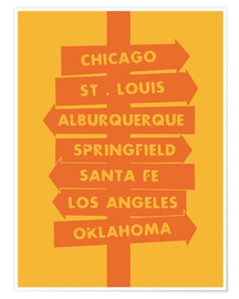Premium-Poster City signs locations route 66 art