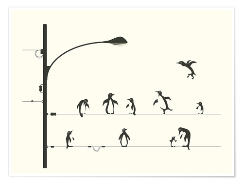 Premium-Poster PENGUINS ON A WIRE