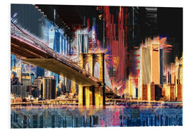 Hartschaumbild  New York mit Brooklyn Bridge - Peter Roder