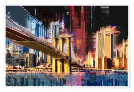 Premium-Poster New York mit Brooklyn Bridge