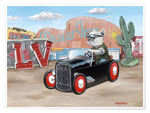 Premium-Poster Las Vegas Hot Rod Frenchie