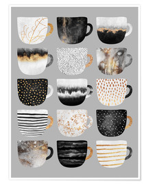 Poster  Pretty Coffee Cups 3   Grey - Elisabeth Fredriksson