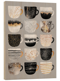 Holzbild  Pretty Coffee Cups Grey - Elisabeth Fredriksson