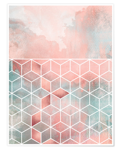 Premium-Poster Rose Clouds And Cubes