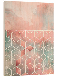 Holzbild  Rose Clouds And Cubes - Elisabeth Fredriksson