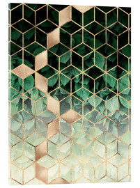 Acrylglas  Leaves And Cubes - Elisabeth Fredriksson